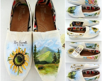 TOMS Wedding Shoes Custom Hand Painted Wedding Shoes Personalized Wedding Shoes Wedding Accessory Bridal Shower Gift Bride Love Story Shoes