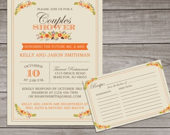 Fall Couples Shower Invitations - Fall Floral Couples Shower Invitations - Watercolor Flowers - Couples-104