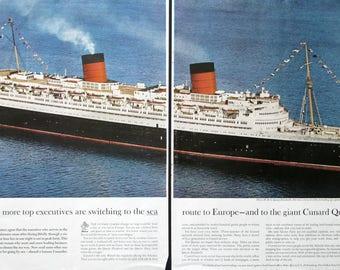 1963 Queen Elizabeth Cruise Ship Ad - 1960s Cunard Cruises - Retro Travel Ads