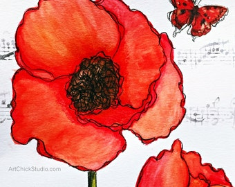 Big Red Poppy Giclee Print 10x10 Mixed Media