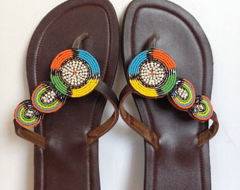 Hand Made Leather Sandals - Beaded Strap 19
