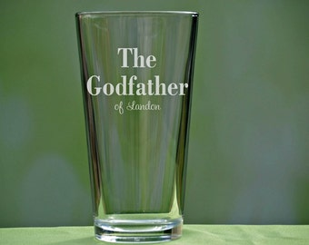 Godfather Pint Glass, Godfather Gift, Baptism Gift for Godparent, Will You Be My Godparent, Christening Gift, Godfather Beer Glass, Pint