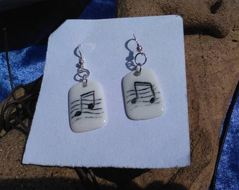 Music Earrings B&W