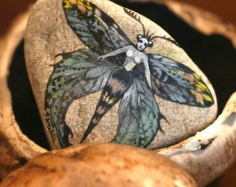 Stone with a hand-painted witch with colorful wings,paper press,fairy decoration,fairy home decor,moth,moth decoration,painted witch,fairy