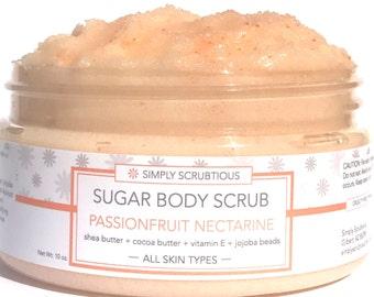 PASSIONFRUIT NECTARINE Sugar Body Scrub-Emulsified Sugar Body Scrub-Shower Smoothie- 8 oz.