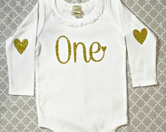 ONE Birthday Long Sleeve Onesie White with Gold Glitter