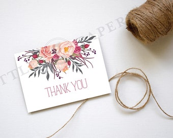 Thank You Card, Pink Floral, White, Printable, INSTANT DOWNLOAD