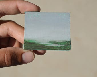SWAMP / Original Oil Painting / Tiny Painting Magnet
