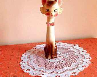 Vintage long neck cat figurine