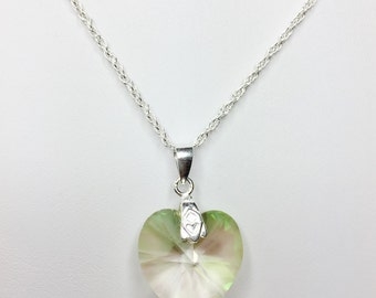 Green Heart Pendant in Sterling Silver Swarovski Crystal Peridot Green Necklace Green Heart Necklace Unique Gift for Her Valentines Day