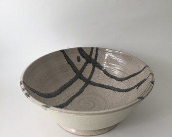 Off White Speckled Bowl,Grey Abstract Design,Handmade,Wheel Thrown,Home Decor,Great Gift,Functional,Ceramic Vessel,Serving Dish,Centerpiece