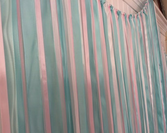 Baby Shower Backdrop, 1st birthday backdrop, Mint Backdrop, Pink backdrop, fabric backdrop, ribbon curtain, gender reveal backdrop