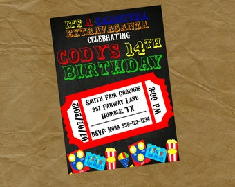 Carnival Birthday Party Invitation - Digital or Printed Circus Games