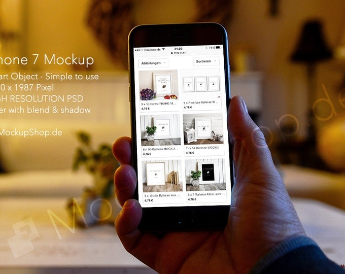 iPhone 7 MOCKUP in Hand / IPHONE MOCKUP / iPhone Mockup Image / showcase a startup / website template / application / blog / portfolio / app