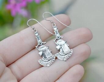 Sterling Silver Egyptian Pharaoh Dangle Wire Earrings