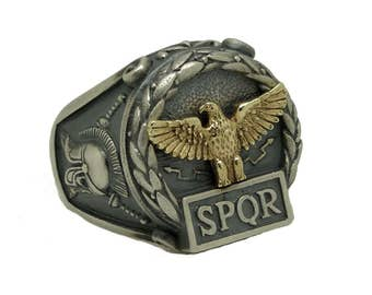 Exquisitely Handcrafted Sterling Silver 925 and Yellow Gold 10K Custom Made Mens Ring , Roman Empire Eagle SPQR , Skull Biker