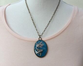 Fish pendant, fish necklace, fish jewellery, animal pendant, animal jewellery, sea pendant, statement pendant, blue pendant, teal pendant