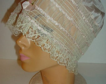 Vintage Lacey Ladys Night Cap Free 1st Class US shipping