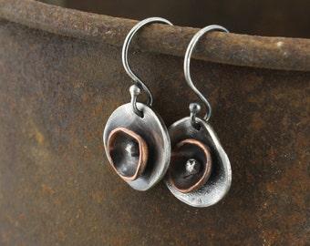 Silver Earrings Domed copper silver earrings silver ball dangly earring rustic earrings circle earrings