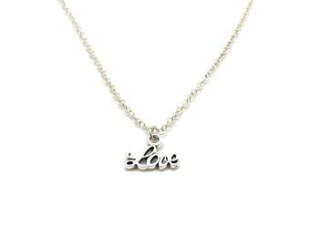 Cursive Love Necklace, Love Pendant, Dainty Love Necklace, Silver Love Charm, Silver Love Jewelry, Jewelry Gift, Cursive Love Word Necklace