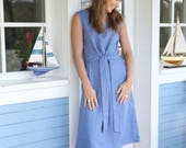 Long and loose linen dress with attached waist ribbon in different colours. Women dress. Long dress. Wide dress.