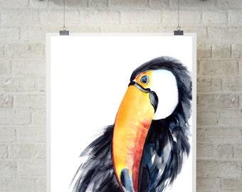 Toucan print, tropical bird watercolor print, toucan painting, bird art, birs wall art, print of toucan bird, modern art