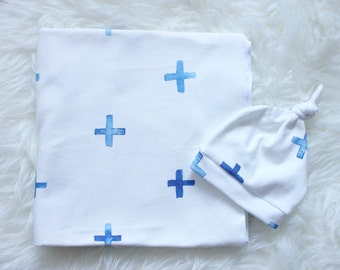SALE Organic Swaddle Blanket /  Blue Watercolor Cross Swaddle and Hat / Newborn Set