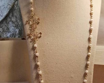 White beads long necklace