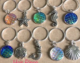 Mermaid Hair Rings, Hair Rings, Braid Rings, Mermaid Jewelry