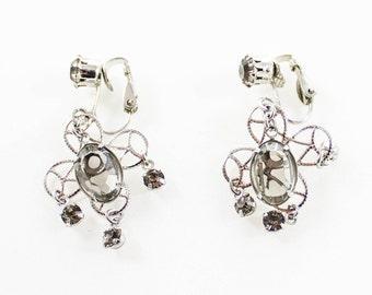 Vintage Openwork Flower Silver Tone Light Gray Rhinestones Dangle Clip On Earrings