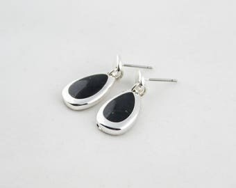 Vintage Silver Tone Black Enamel Drop Dangle Earrings