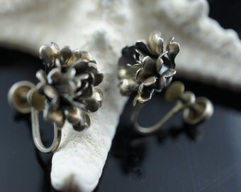 Sterling silver 925 screw back  flower rose Earrings Vintage Jewelry Art Deco gift x158