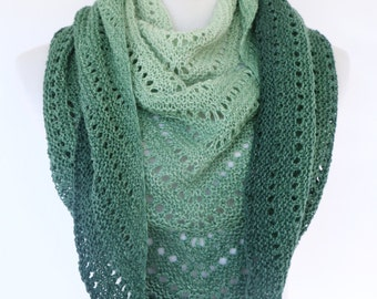 Green triangle scarf, merino wool gradient color wrap, openwork shawl