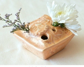 "Flower ""Pillow"" Vase - Floral in Peach, Decorative flower motifs in peach glaze, Modern Home Decor"