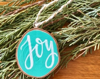 JOY Wood Slice Ornament, Christmas Ornament, Chalkboard Ornament, Holiday decor
