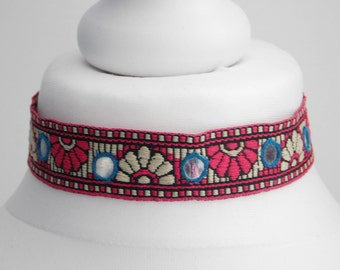 Pink Red Mirror Festival Boho Choker Necklace