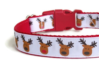 Red-Nosed Reindeer Dog Collar - Christmas Dog Collar (Buckle or Martingale)