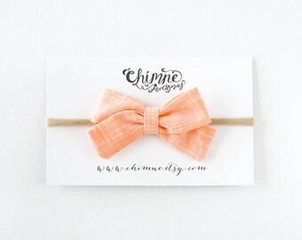 coral baby headband, baby headband peach, toddler headband, baby bow headband, newborn headband, baby girl shower gift, newborn baby bow