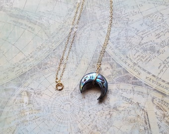 Abalone Crescent Moon Necklace, Dainty Abalone Necklace, Pendant Necklace, Abalone Shell Jewelry, Ladies Necklace, Womens Jewelry