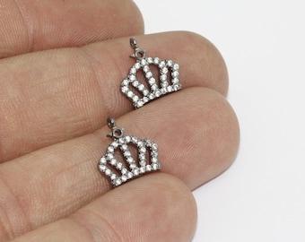 1 Pcs 12x13mm Gunmetal Crown Charms, King Charms, Cubic Zirconia King Charms, Micro Pave King Charms, zrcn166