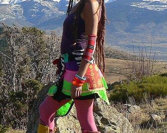 neon patchwork skirt