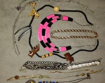 Lot of 8 Vintage/non wearable necklaces necklaces Lot 22