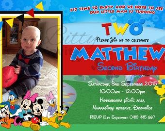 Mickey Mouse club house JPEG invite invitation with photo - Australian seller