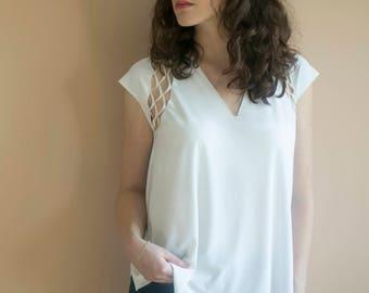 Special Shirt Cutout Shirt White Shirt Womens Shirt White Top Special Womens Top