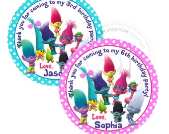 "Custom Trolls Printable 2.5"" Tags-Personalized Birthday 2.5 inches Tags- Stickers- DIY Trolls Party Favor Tags"