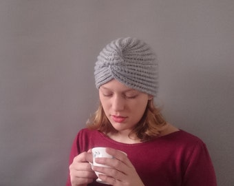 Turban 1940s style knitted turban grey lambs wool and mohair 1940s diva