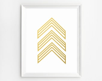 Gold Wall Art, Chevron Art, Prints, Gold Art, Arrow Art, Poster, Gold Foil, Printable, Arrow Wall Art, Gold Foil Prints, Art, Wall Art Print