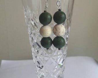 Boho coloured wooden bead earrings with hypoallergenic fittings