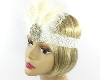 Flapper White Peacock Headband, Great Gatsby Headpiece, White Peacock Headpiece, Flapper Feather Headband  #A763