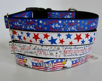 Patriotic Dog Collars - Foil Home of the Brave, Glitter Stars, Foil Pledge of Allegiance, Glitter United we Stand - READY TO SHIP!